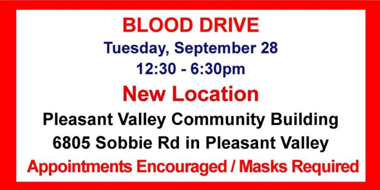 September 28 Blood Drive – Location Changed