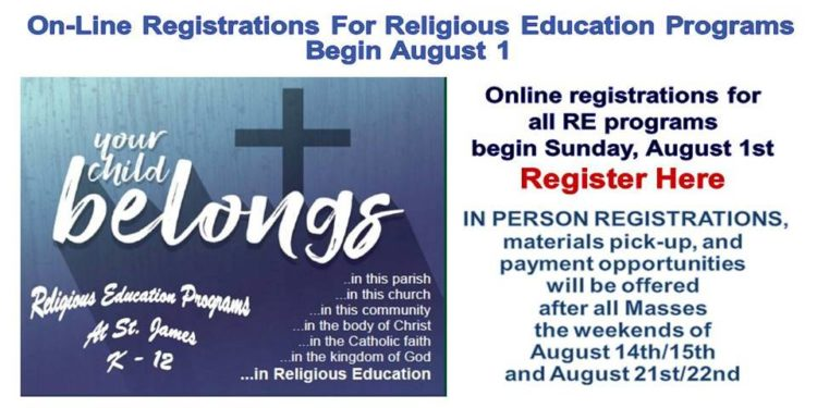 Registrations Open Now For Religious Education Programs