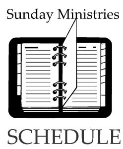 Revised Schedule of Sunday Ministries – April 2017