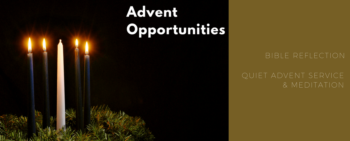 Advent candles in greens wreath offering link to advent opportunities at st james church