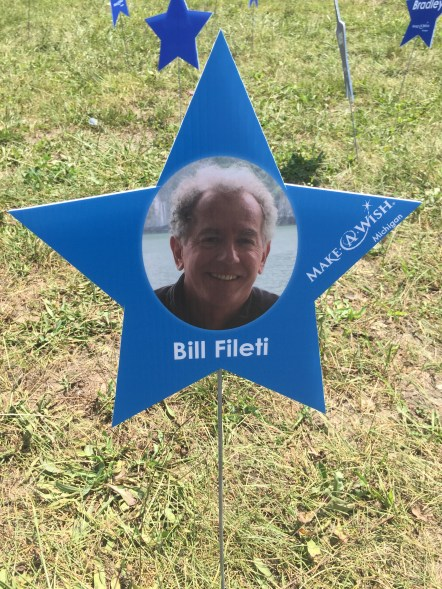 "Every rider dedicated their ride to the honor of a lost friend or loved one. Rob dedicated his ride to the late Bill Fileti, founder of IHA. Here is Bill's Make-a-Wish Star on the final ""silent mile"" before the finish line at MIS."