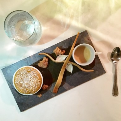 Sweet Carrot & Parsnip Souffle / Candied Pecan / Orange Tuille