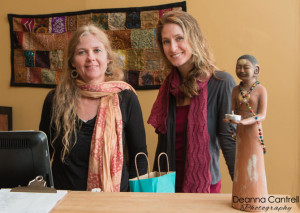 Bhakti Foster-Purvine and an assistant yoga instructor.