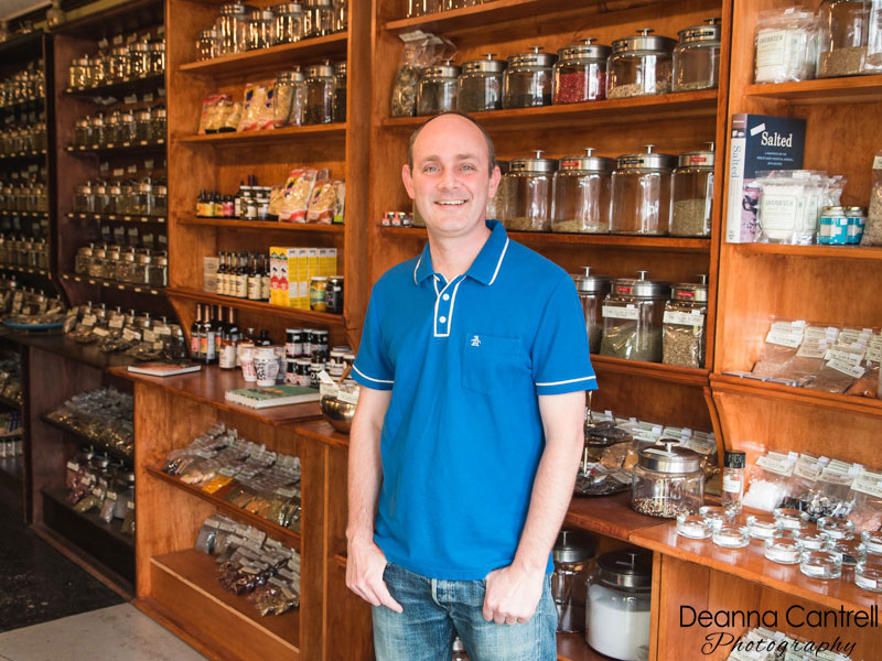The Olive & Vine shop and co-owner Derek Shaw.