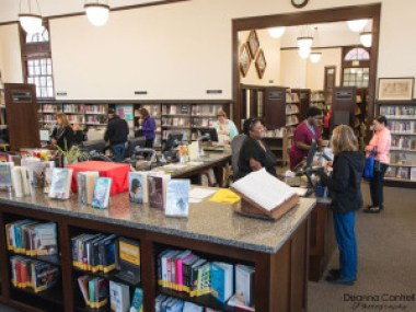 Staff and patrons at the St. Johns Library
