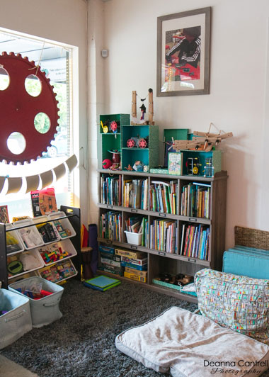 Reading corner with books and pillows