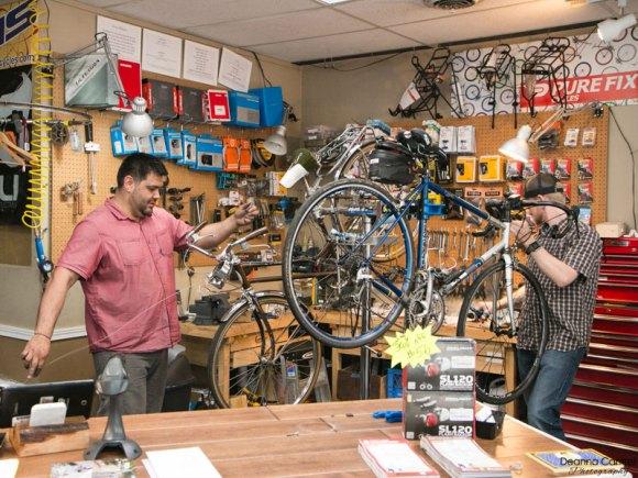 Ben Helgran and Flynt Nash repairing bicycles at Block Bikes PDX