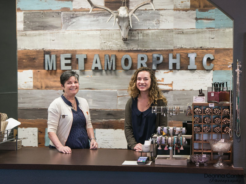 Metamorphic owner Jean Schwartz and staff at the St. Johns shop