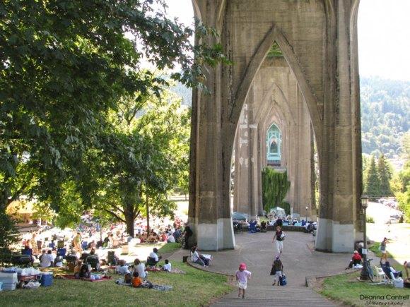 Cathedral Park Jazz Festival under the St. Johns Bridge