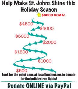 St Johns holiday lights poster. Help make St. Johns shine this holiday season.