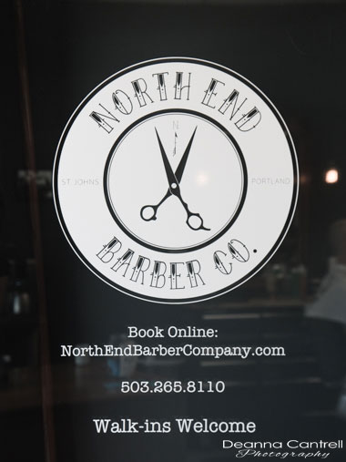 Logo and sign for North End Barber Co.