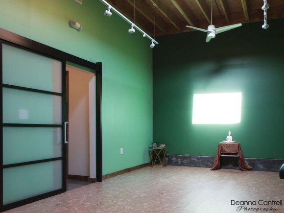 Green yoga and meditation room.