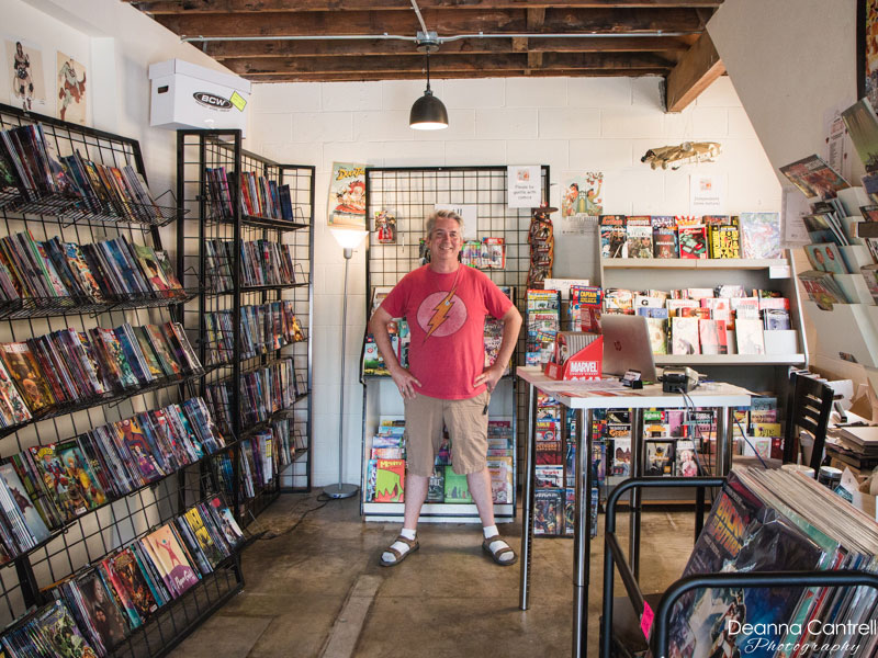Owner Doug O'Loughlin inside Comic Cave PDX