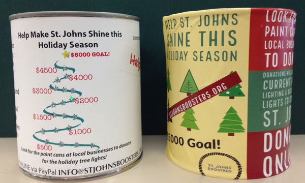 Donation Cans for the Brighten Up St. Johns campaign