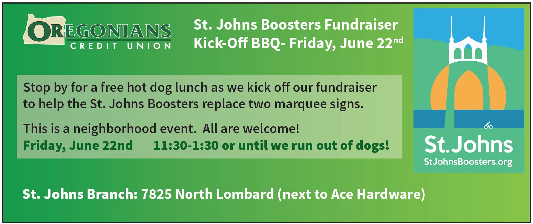 Oregonians CU fundraiser kick-off to benefit the St. Johns Boosters