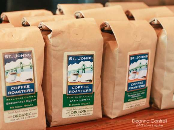 Bags of coffee at St. Johns Coffee Roasters