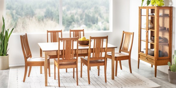 A classic dining room table and chairs from The Joinery