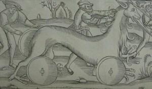 Woodcut illustration from Vegetius, De Re Militari (text c. 400) (This edition printed Paris: Christian Wechel, 1553) (Delta.3.1(1))