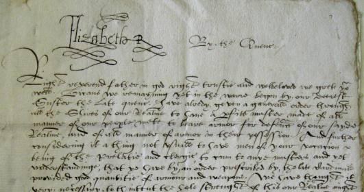Elizabeth I's signature on the letter