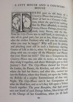 'A city mouse and a country mouse' - the beginning of the fable, including an initial letter decorated with two mice