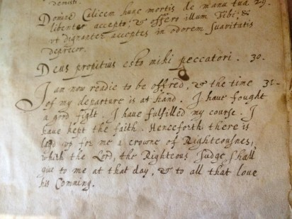 Handwritten prayers in Latin and English