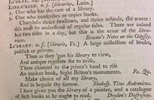 Johnson's deifnition of library