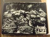 Inked plaster block by Ann Hickebottom