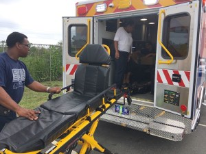 A St. Croix EMS crew practices with the new aambulance and patient cart. (Photos provided by the V.I. Department of Health)