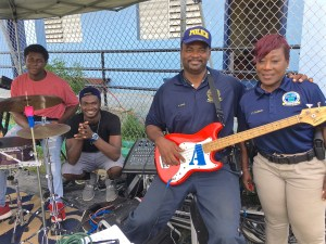 The police band Code Blue performs during National Police Week activities.