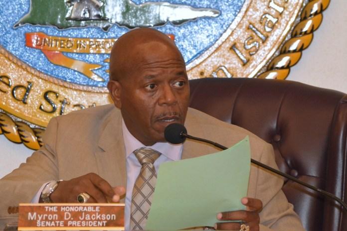 Senate President Myron Jackson chairs Wednesday's legislative session. (Photo by Barry Leerdam, provided by the V.I. Legislature)
