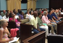 An attentive crowd of people interested in the future of the V.I. National Park fills the Legislative Annex on St. John.