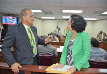 Pedro Cruz, commissioner of Sports, Parks and Recreation speaks with Sen. Nereida Rivera-O'Reilly during a break in Wednesday's budget hearing.
