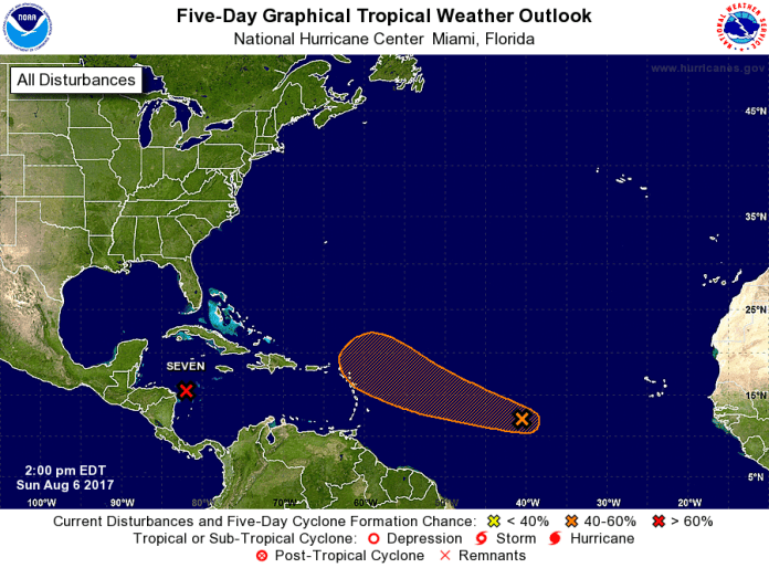 Five-day storm outlook from the National Hurricane Center. (Click on image for closer view.)