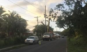 A WAPA crew repairs damaged utility poles. (Photo provided by WAPA)