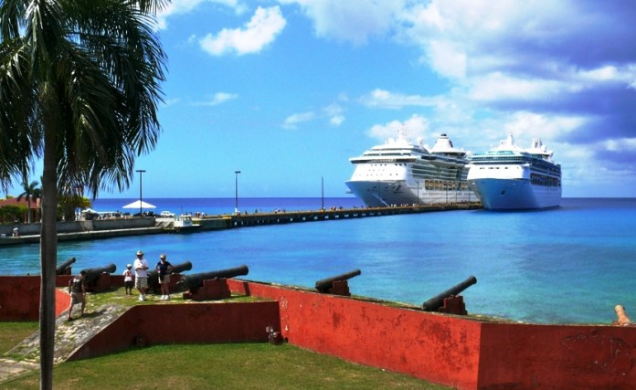 Two cruise ships tie up side by side in 2013 in Frederiksted. (Bill Kossler photo)
