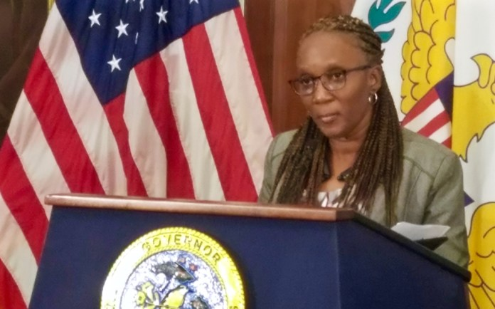 Commissioner of Human Services Felecia Blyden discusses Disaster SNAP Friday at Government House on St. Croix. (Jamie Leonard photo)