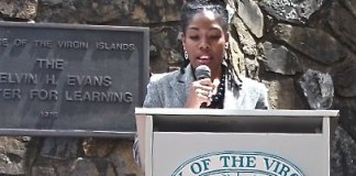Genevieve Whitaker speaks at the UVI campus in 2012. (Genevieve Whitaker photo from the Stetson University website)