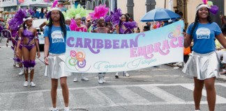 The Caribbean Embrace Carnival Troupe marches in the 2017 Carnival Parade. (Photo submitted by the V.I. Carnival Committee)