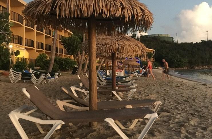Beach chairs at Emerald Beach Resort on St. Thomas.