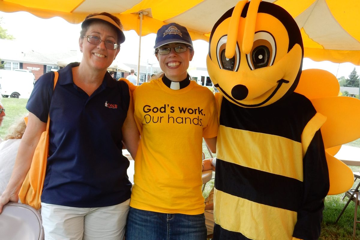 QNB's Buzz the Bee made a guest appearance with Elaine Ely and Pastor Kat