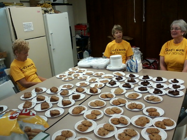 Nancy Yerkes, Nancy Ackerman and Rosie Wimmer (L to R) Keeping an Eye on the Desserts - Trying Not to Test Them!