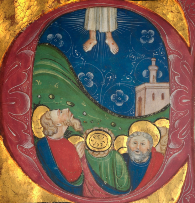 picture of the ascension with one of the apostles looking at us rather than at Jesus - get him back