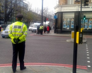 An officer standing at a junction in Islington