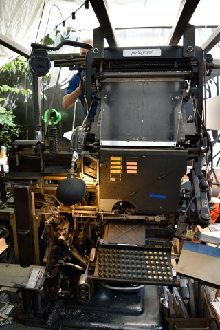 Linotype printing machines hard at work