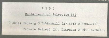 1953 Scoláireachtaí Iolscoile Caption