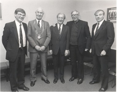 Past Pupils Dinner, 1987. From left to right: Mr. Michael Foster (Principal), Mr. Harry Boland (President of the Past Pupils' Union), Mr. Charles Haughey (Taoiseach and Past Pupil), Br. T.M O'Catháin (Christian Brother) and Mr. John Teeling (Past Pupil)