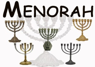 The Word 'Menorah' and 5 Mini-Menorahs