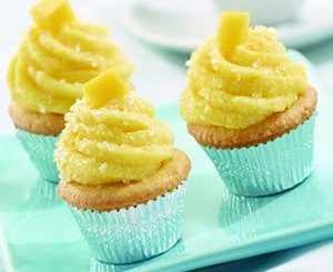 Recipe for Mini Vanilla Cupcakes with Mango Buttercream