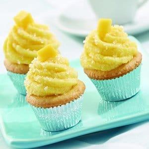 Mini Vanilla Cupcakes with Mango Buttercream