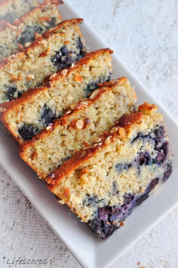 Recipe for Lemon Blueberry Oatmeal Bread  - The bread is really moist with oodles of succulent blueberries in it and the texture is sort of a hybrid between that of a cake and a bread.
